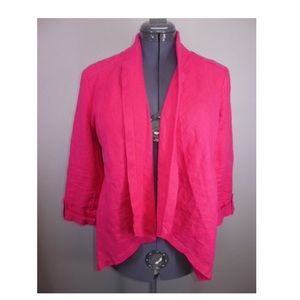 Chico's Open Front Linen Jacket Pink 1 S